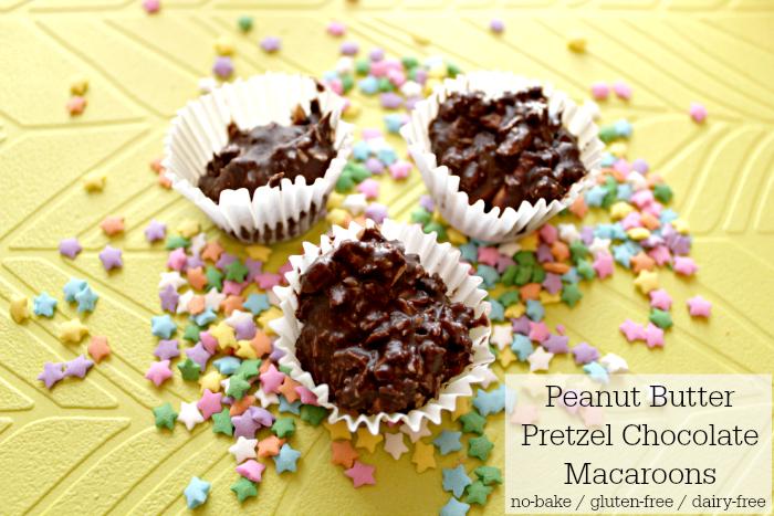 Gluten-free + Dairy Free Peanut Butter Pretzel Chocolate Macaroons