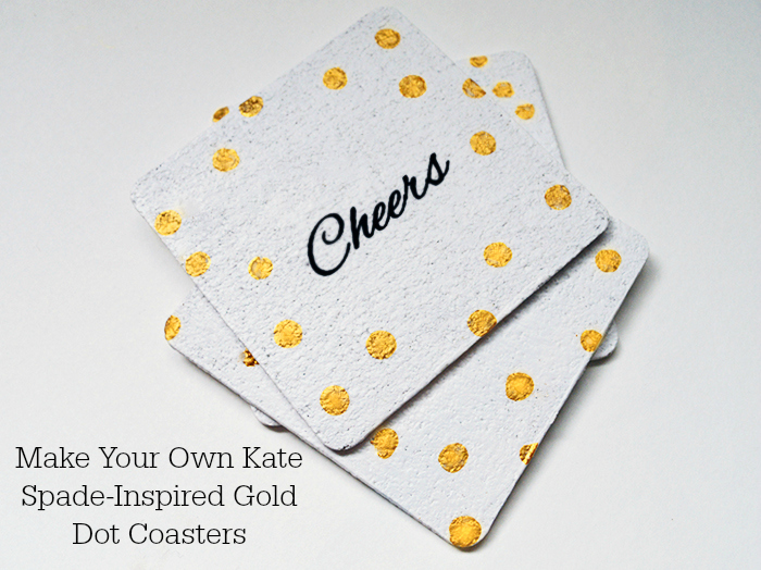 Make Your Own Kate Spade-Inspired Gold Dot Coasters